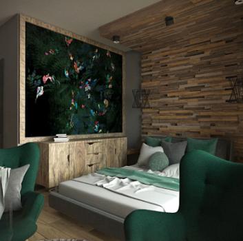 Salon w drewnie z fotelami w kolorze butelkowej zieleni