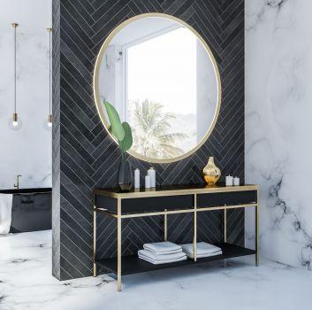 Czarno biała łazienka z płytkami imitującymi marmur