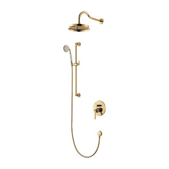 Armance zestaw prysznicowy podtynkowy z deszczownicą złoty SYSAM20GL