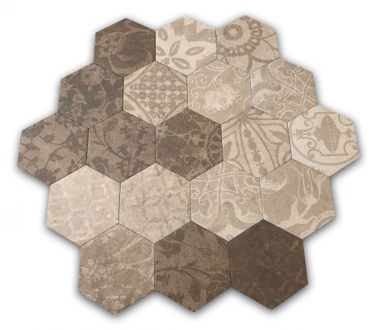 heksagony beżowe brązoweargenta hexagon multi warm 25x22