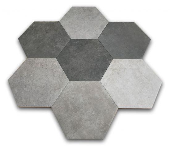 heksagony szare do łazienki argenta hexagon multi cold 22x25