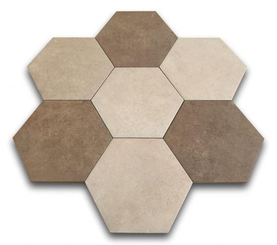 heksagony beżowe brązowe na podłogę argenta hexagon multi warm 25x22