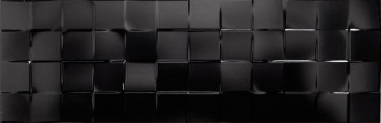 płytki dekoracyjne czarne 25x75 do łazienki dekoracje 3d Aparici Solid Black Check