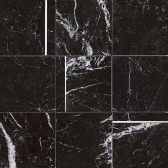 Peronda czarna mozaika na ścaine czarny marmur połysk 30x30