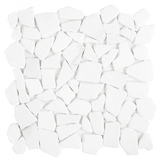 Dunin biała mozaika na ściane biały kamień