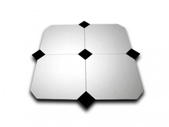 płytki oktagonalne białe z czarnym dekorem