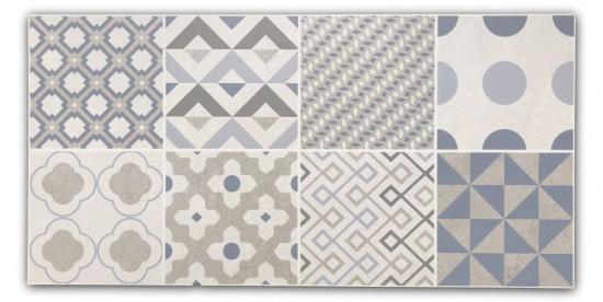 płytki dekoracyjne ścienne patchwork KEROE ARKETY SILVER 30x60 R