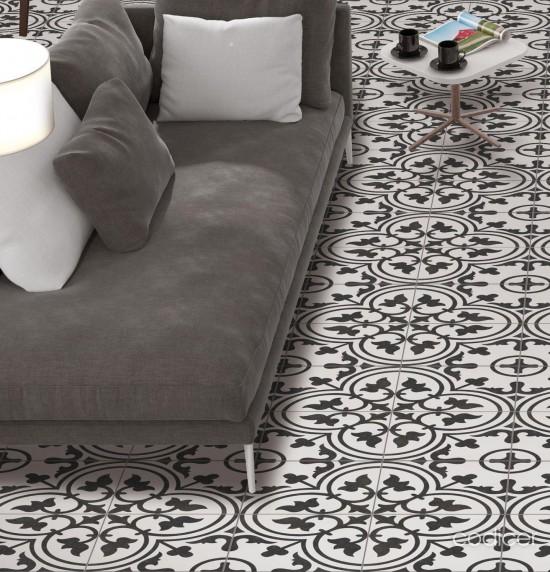 patchwork na podłogę czarne