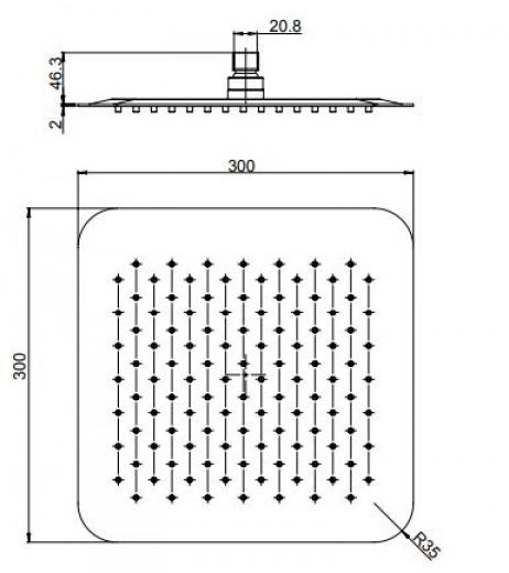 paini deszczwonica kwadratowa 25x25 deszczownica pod prysznic łazienki