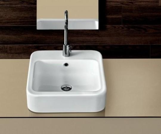 hatria umywalka nablatowa kwadratowa biała ceramika