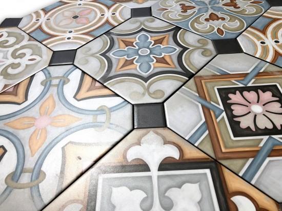 detale na kolorowych płytkach patchwork