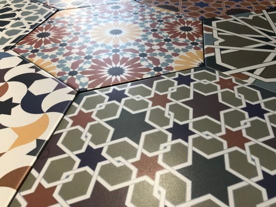 heksagonalne płytki gresowe w stylu paczwork realonda andalusi 33x28,5