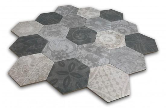 szare płytki heksagon z motywem kwiatowym Hexagon Patchwork Cold