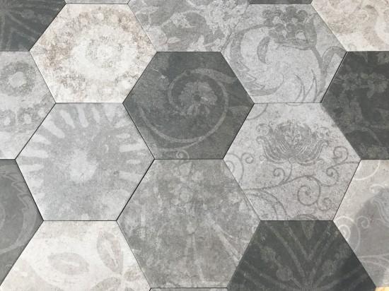 dekory heksagon z kwiatami Hexagon Patchwork Cold Argenta