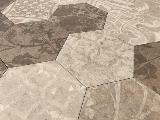 gres hexagon beżowo brązowy Hexagon Patchword Warm Argenta