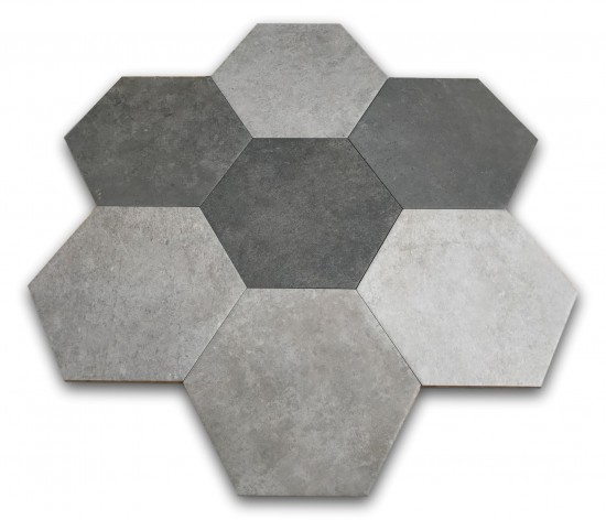 heksagony szare do łazienki argenta hexagon multi cold 22x25