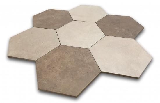 płytki heksagonalne beżowe i brązowe Hexagon Multi Warm Argenta