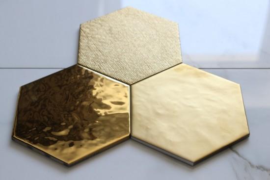 złoty heksagon dekoracyjny 18x20