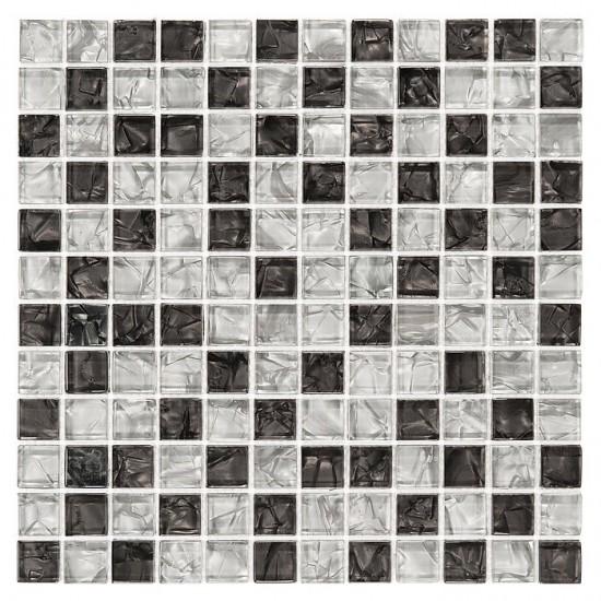 Dunin mozaika szklana czarno biała nowoczesna łazienka kuchnia mozaika szklana 30x30