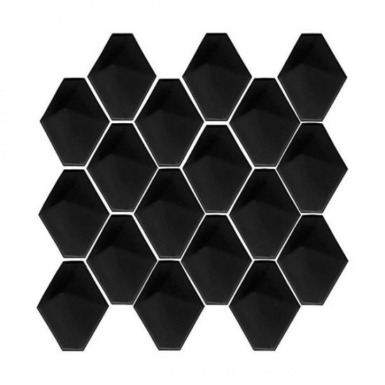 dunin czrna mozaika na ściane z pikowanym wzorem nowoczesna łazienka kuchnia salonczarne kafelki