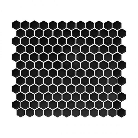 dunin czarny heksagon na ściane w połysku czarna mozaika do łazieni kuchni salonu nowoczesna łazienka