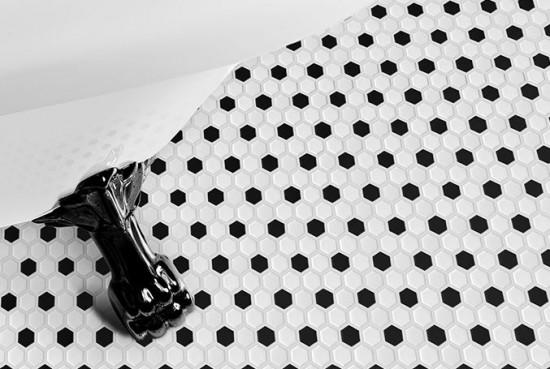dunin biała mozaika na ściane  biały hexagon w połysku nowoczesna łazienka salon kuchnia
