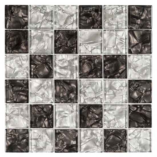 Dunon biało czarna mozaika szklana 30x30