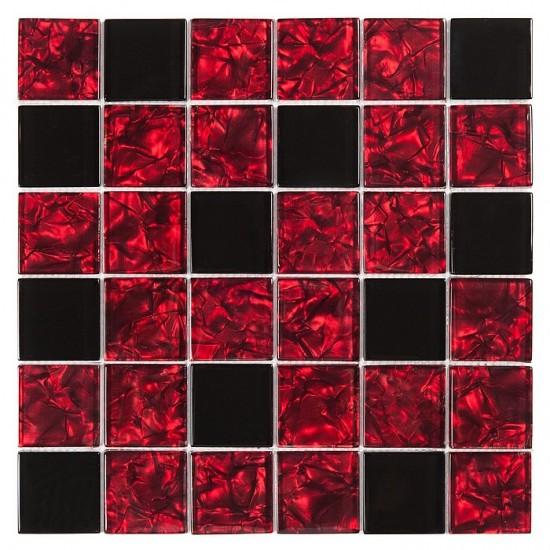 Dunin mozaika szklana czarno czerwona mozaika do łazienki kuchni