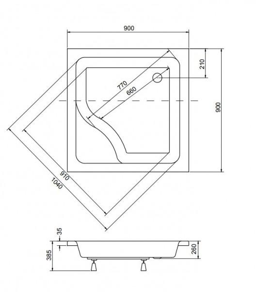 Brodzik kwadratowy Igor 90x90x24