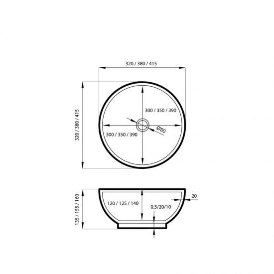 Umywalka nablatowa okrągła Malo 32x32x13,5